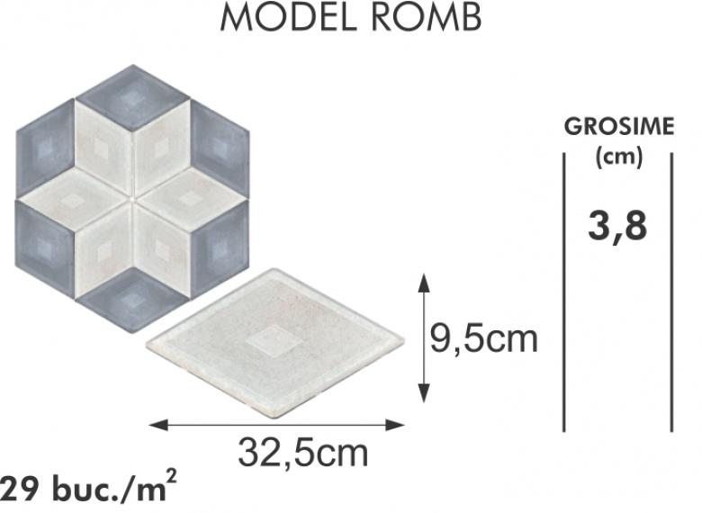 Pavaj vibropresat 12 - Model romb