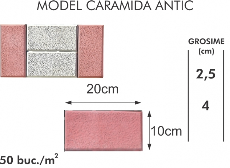 Pavaj vibropresat 010 - Model caramida antic